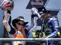 Marc Marquez e Valentino Rossi, 1° e 2° ad Austin. Epa