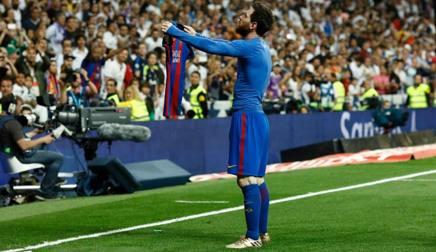 Messi dopo il gol del 3-2 al Bernabeu. Afp