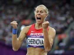 La russa Tatyana Chernova, 29 anni, qui nell'eptathlon ai Giochi di Londra 2012. Ap