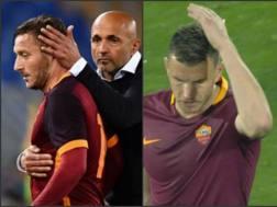 Spalletti prova ad abbracciare Totti, a destra il vaffa di Dzeko