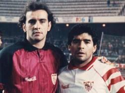 Ramón Rodríguez Verdejo, detto Monchi, con Diego Maradona.