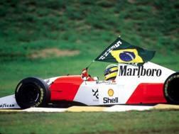 Ayrton Senna festeggia esibendo una bandiera del Brasile