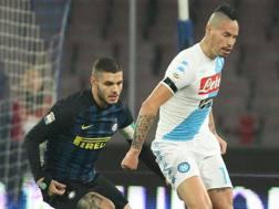 Mauro Icardi e Marek Hamsik, capitani di Inter e Napoli. Afp