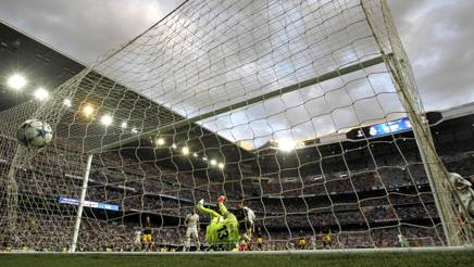 Lo stadio Santiago Bernabeu di Madrid, durante il derby di Champions League tra Real e Atletico. LaPresse