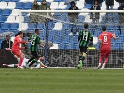 Il gol realizzato da Chiesa al 37' del primo tempo. Ansa