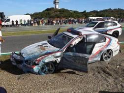 La BMW di Uncini dopo l'incidente a Jerez
