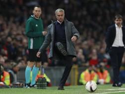 José Mourinho in versione calciatore a Old Trafford. Reuters