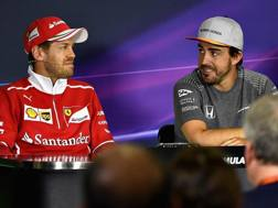 Vettel e Alonso in conferenza stampa a Montmeló. Getty