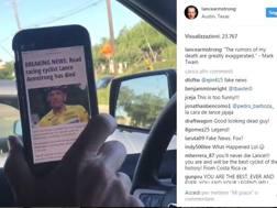 Un'istantanea del video di Armstrong.