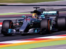 Lewis Hamilton in azione con la Mercedes. Getty