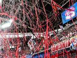 La festa dei tifosi del Lipsia per l'approdo in Champions League. EPA