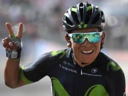 Nairo Quintana, 27 anni, felice dopo la vittoria. Ansa