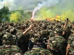 La manifestazione dei tifosi della Dynamo