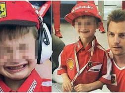 Il piccolo Tomàs in tribuna in lacrime e poi felice con Raikkonen