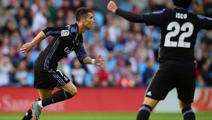 Cristiano Ronaldo festeggia il primo gol al Celta. Afp