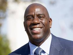 Magic Johnson, rappresentante dei Lakers  al Draft 2017. Ap