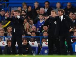 Mazzarri e Conte in Chelsea-Watford. Afp