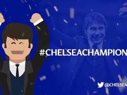 Antonio Conte, allenatore del Chelsea, festeggia il titolo. Ap