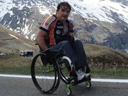 Luca Panichi, 48 anni, sul Passo Stelvio.