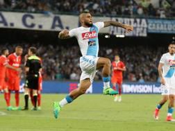 Lorenzo Insigne festeggia il secondo gol del Napoli. Getty