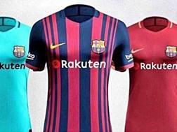 La foto che ritrae quelle che dovrebbero essere le maglie del Barcellona per la stagione 2017/18. Twitter