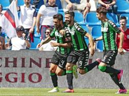 Francesco Magnanelli festeggia il gol dell'1-0. Ansa
