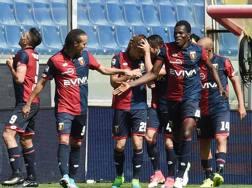 L'esultanza del Genoa dopo il vantaggio firmato Luca RIgoni. Lapresse