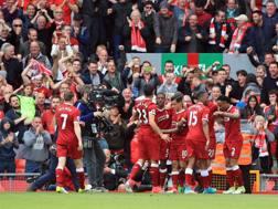 La soddisfazione dei Reds ad Anfield. LaPresse