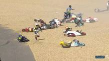 La caduta multipla della Moto3 a Le Mans. Twitter