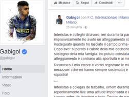 Il post di scuse di Gabigol, dopo Lazio-Inter