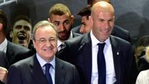 Florentino Perez e Zinedine Zidane. Afp