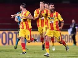 L'esultanza di Ceravolo per il gol dell'1-0 allo Spezia. LaPresse