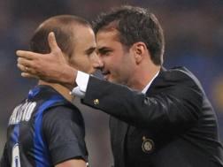 Rodrigo Sebastián Palacio, 35 anni, attaccante argentino dell'Inter, e Andrea Stramaccioni, 41. LaPresse