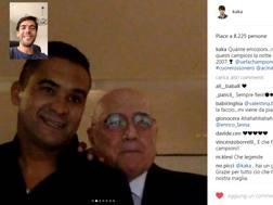 Kakà (nel riquadro in alto a sinistra) in videochiamata con Serginho e Galliani. Instagram