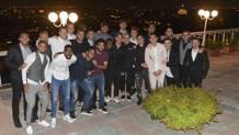 I giocatori della Roma a cena al Cavalieri Hilton, ieri sera, ospiti di Francesco Totti. LaPresse