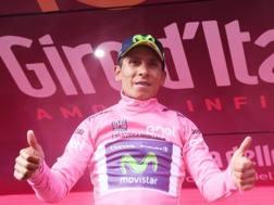 Seconda maglia rosa per Quintana in questo Giro. Lapresse