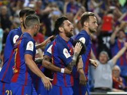 Leo Messi e compagni festeggiano. Ap