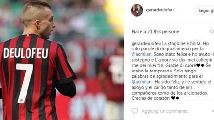 Il post su Instagram di Gerard Deulofeu.