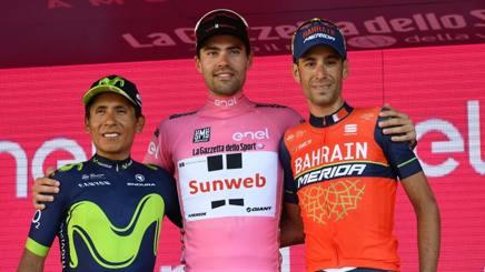 Il podio del Giro d'Italia 2017. LaPresse