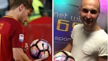 Thomas Lintozzi, tifoso della Roma, mostra il pallone autografato da Totti