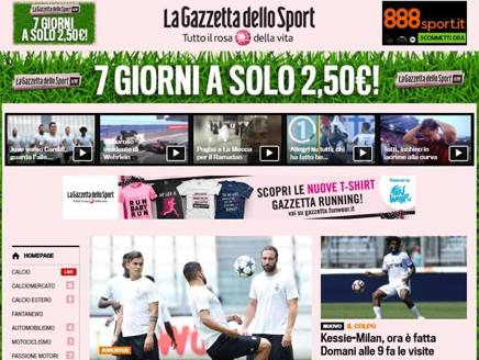 L'homepage di gazzetta.it