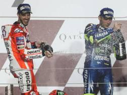 Andrea Dovizioso e Valentino Rossi. Afp