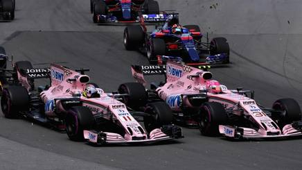Le Force India al via del GP del Canada. Afp