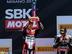 La gioia di Marco Melandri sul podio di Misano