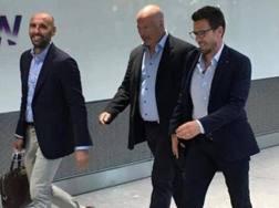 Eusebio Di Francesco con Monchi (a sin.) e Alex Zecca