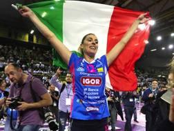 Francesca Piccinini festeggia lo scudetto 2017. Tarantini