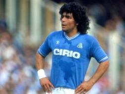 Diego Armando Maradona quando giocava nel Napoli. Arch. Gazzetta