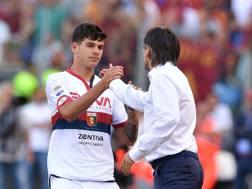Pietro Pellegri festeggia con Juric il primo gol in A. LaPresse