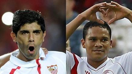 Da sinistra, Éver Banega, 28 anni, e Carlos Bacca, 30, ai tempi del Siviglia.