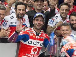 Danilo Petrucci festeggia il 2° posto. Getty